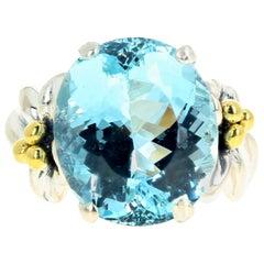 Gemjunky Natural Magnificent Rare Huge Blue 11 Carat Aquamarine Ring