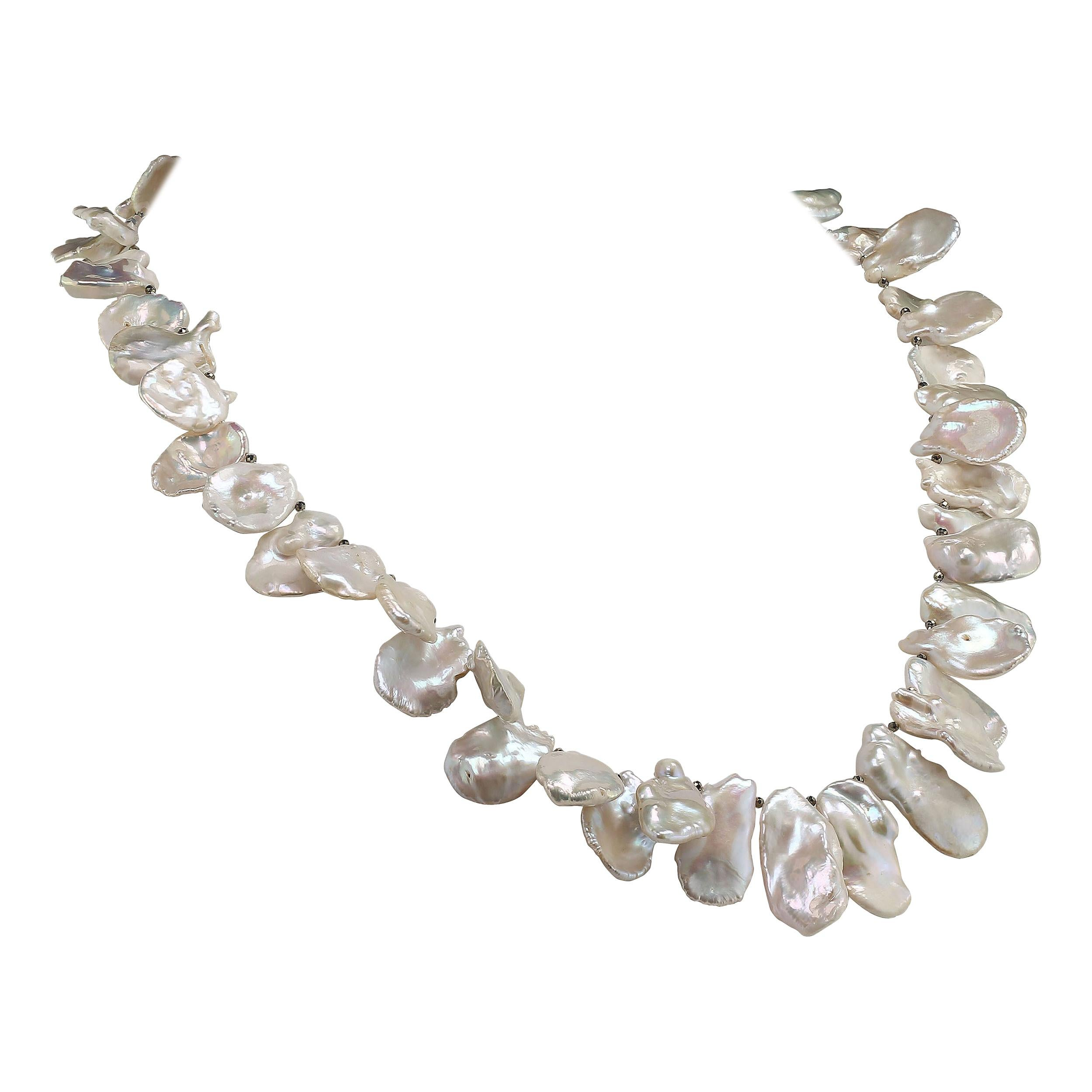 Gemjunky Matinee Length, White, Iridescent Keshi Pearl Necklace June Birthstone