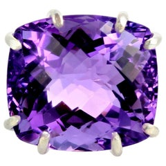 Gemjunky Movie Star Collect. Whopping 44 Carat Exquisite Amethyst Silver Ring