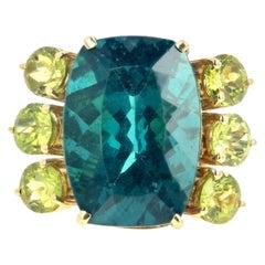 "Gemjunky ""Movie Star"" Rare 18.8 Ct Indicolite Tourmaline & Peridot 18K Gold Ring"