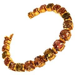 Gemjunky Multi-Color Tourmaline and 18 Karat Yellow Gold Bracelet