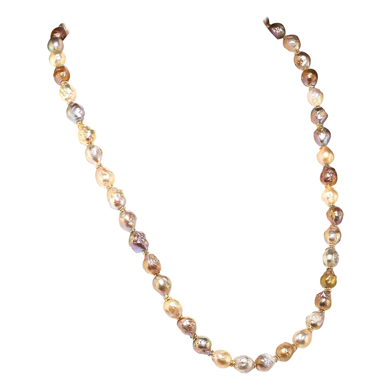 Gemjunky Natural Color Multi-Tone Baroque Pearl Necklace  June Birthstone