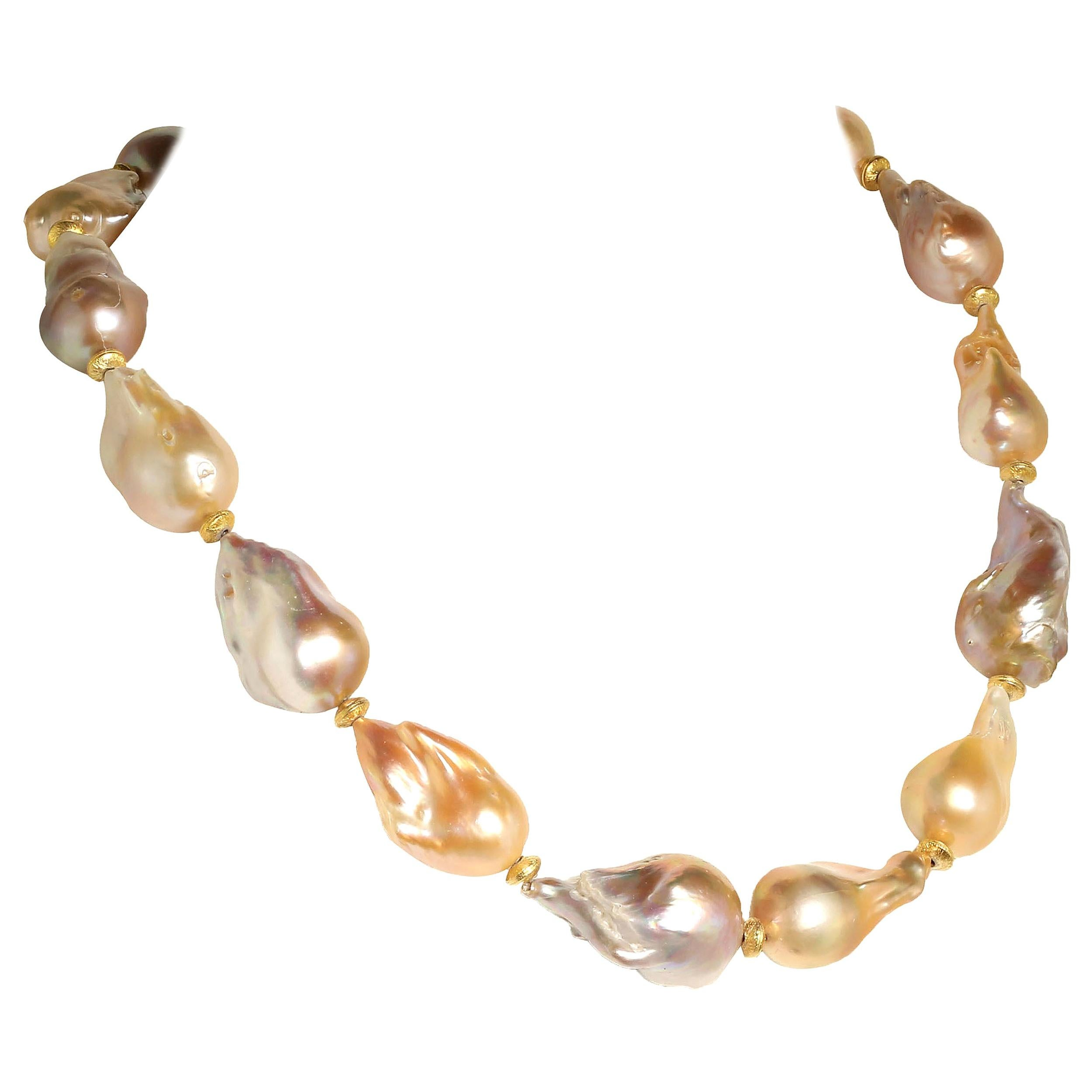 Gemjunky Natural Luscious, Lustrous Baroque Pearl Necklace  June Birthstone