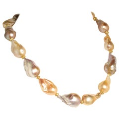 21 Inch Natural Luscious, Lustrous Baroque Pearl Necklace  June Birthstone