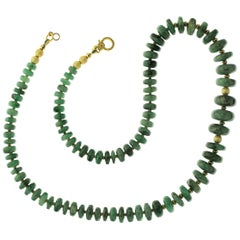 Gemjunky Necklace Graduated Rondelles of Emerald Matrix