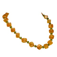 Necklace of Citrine Cubes and Peridot Rondelles