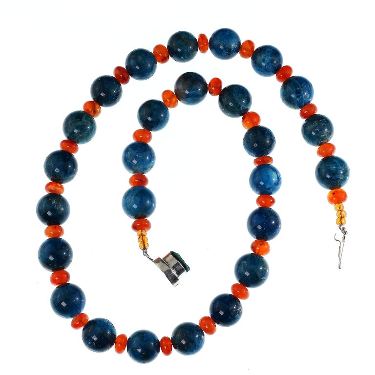 Gemjunky Glowing Apatite and Carnelian Necklace For Sale 4