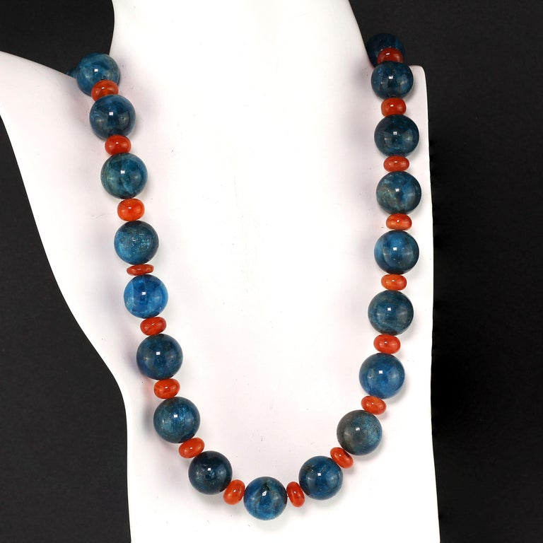 Gemjunky Glowing Apatite and Carnelian Necklace For Sale 5