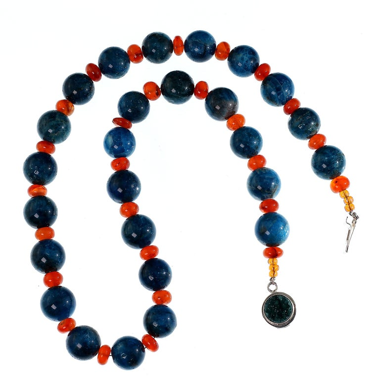 Artisan Gemjunky Glowing Apatite and Carnelian Necklace For Sale