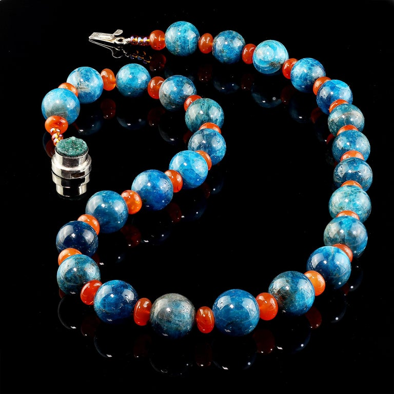 Bead Gemjunky Glowing Apatite and Carnelian Necklace For Sale