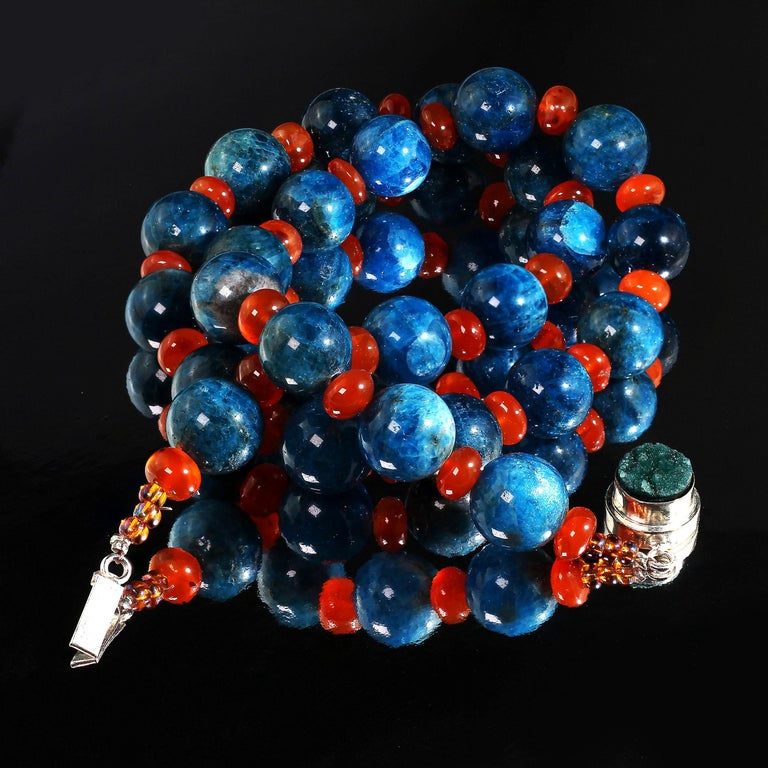 23.5 Inch Necklace of Teal Apatite Beads (15mm) that have interesting variations in intensity of color and veining.  The highly polished Apatite Beads alternate with Glowing Translucent Carnelian Rondelles (9mm).  The combination is more than the