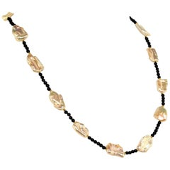 Gemjunky Opera Length Pearl and Black Agate Long Necklace