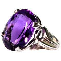 Gemjunky Oval Amethyst in Sterling Silver Ring February Birthstone