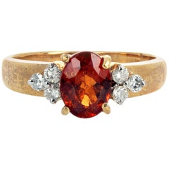 Gemjunky Petite Collection 1 Carat Natural Madeira Citrine and Diamond Gold Ring