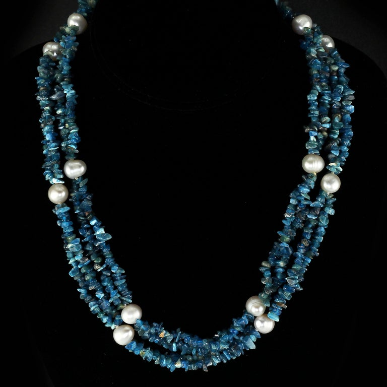 38 Inch Infinity Necklace of Beautiful Teal Blue Apatite Chips in Two rows with White freshwater Pearl accents.  The lovely bright blue chips are that distinctive Apatite color.  Great necklace to add color and style to your ensemble.  The necklace