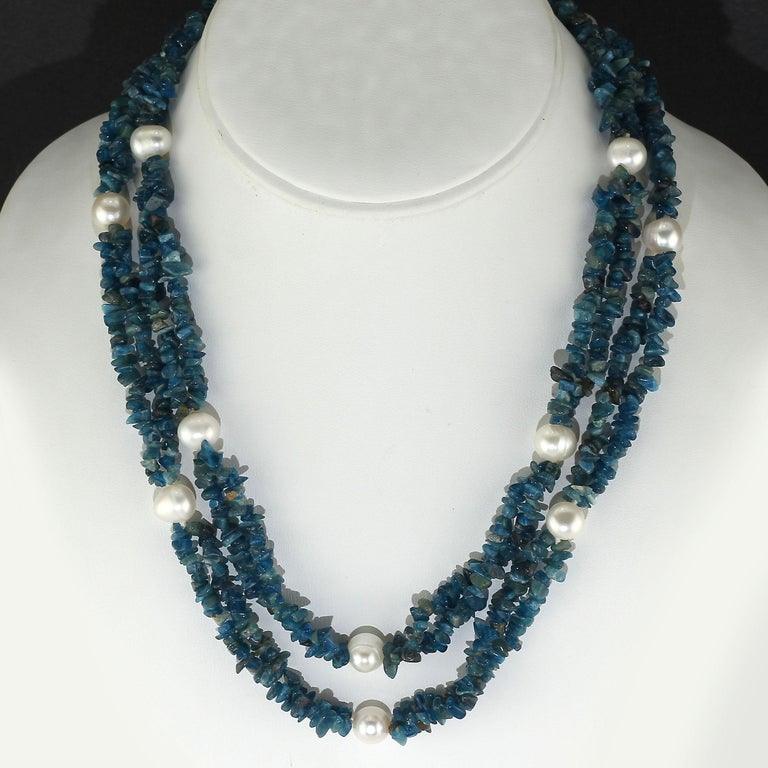 Artisan Gemjunky Polished Apatite Chips Double Strand Necklace with Pearl Enhancements For Sale