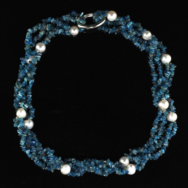 Bead Gemjunky Polished Apatite Chips Double Strand Necklace with Pearl Enhancements For Sale