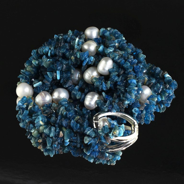 Gemjunky Polished Apatite Chips Double Strand Necklace with Pearl Enhancements In New Condition For Sale In Tuxedo Park , NY