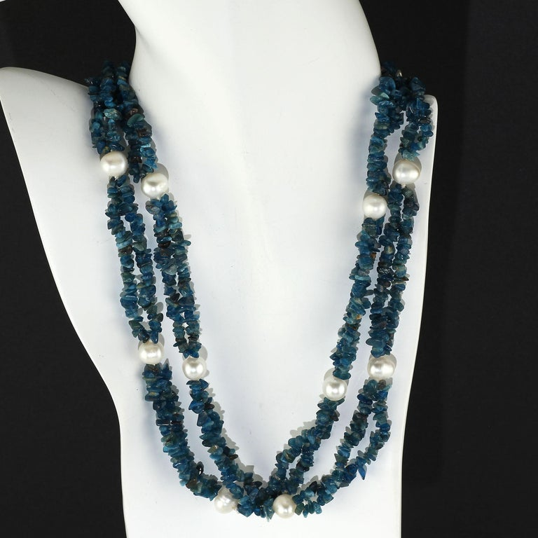 Women's or Men's Gemjunky Polished Apatite Chips Double Strand Necklace with Pearl Enhancements For Sale