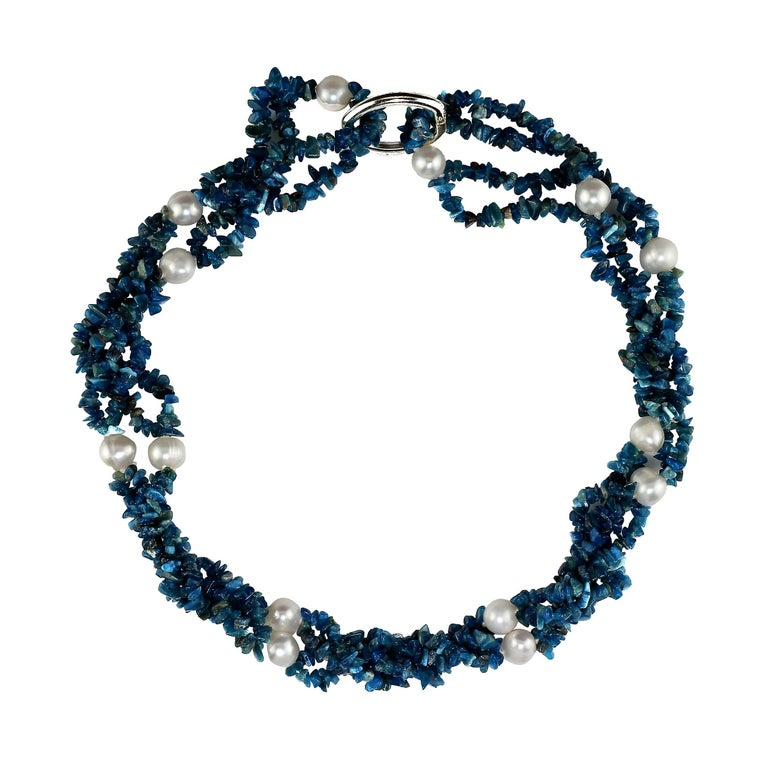 Gemjunky Polished Apatite Chips Double Strand Necklace with Pearl Enhancements For Sale 1