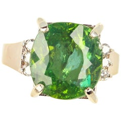 Gemjunky Very Rare Glittering Green 8 Carat Madagascar Apatite & Diamond Ring