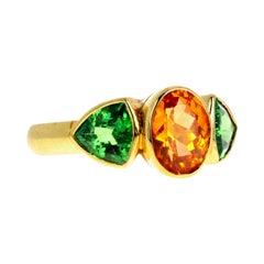Gemjunky Rare Glittering Spessartite & Green Garnet 18k Yellow Gold Ring