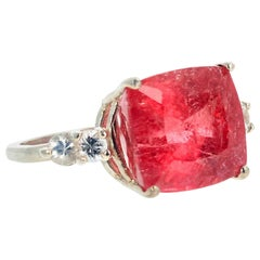 Gemjunky Rare Stunning Fuzzy Dusty Rose Pink Tourmaline & Sapphire Cocktail Ring