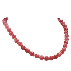 Gemjunky Rhodochrosite Tone Necklace with Goldy Accents