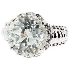 Dazzling Spectacular Huge 10 Carat White Sapphire & Diamond White Gold Ring