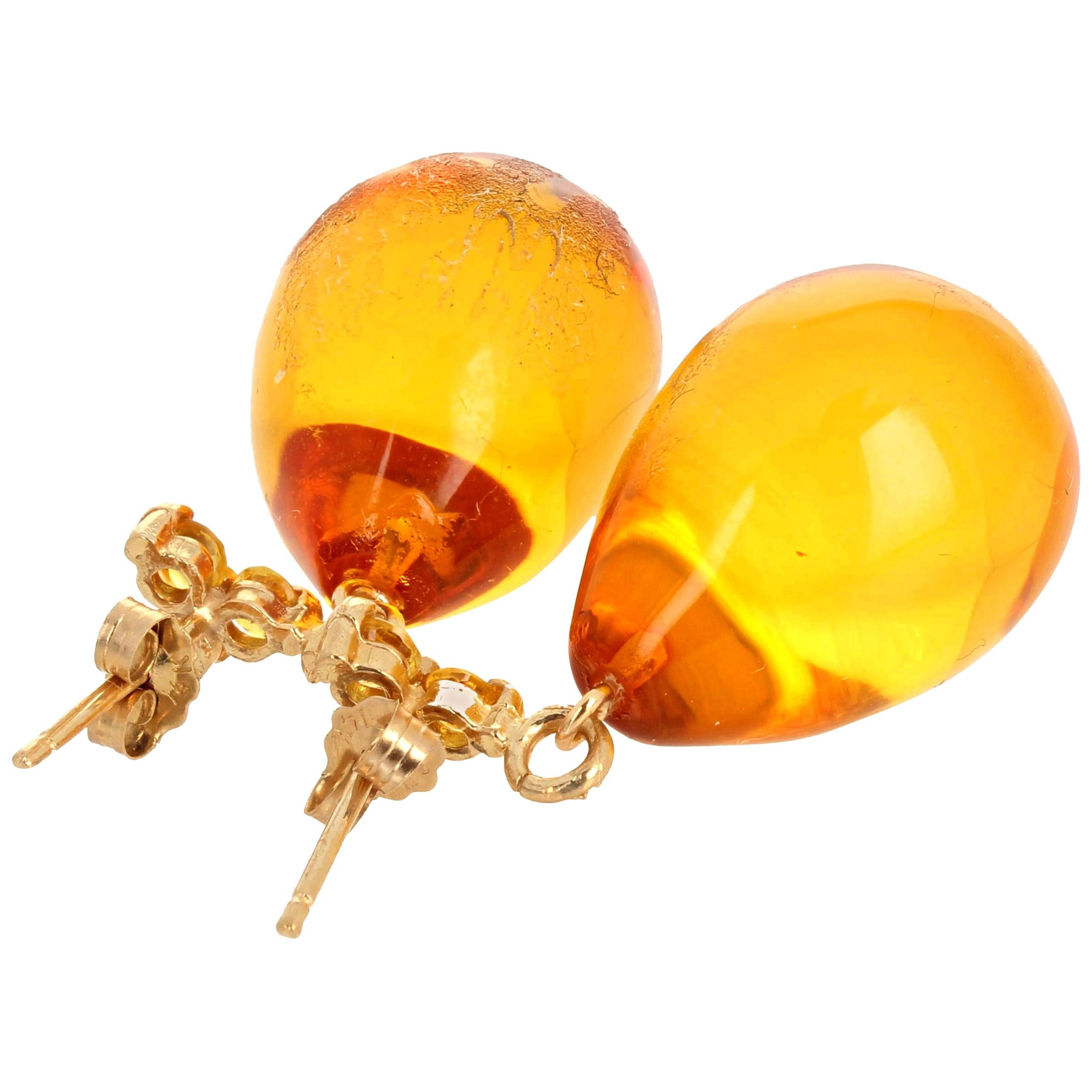 Gemjunky Noble Stunning Rare Clear Amber & Sparkling Citrine Gold Earrings