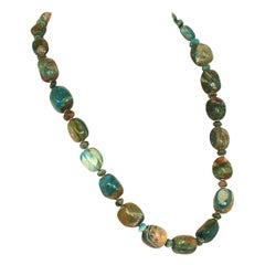 Gemjunky Rustic Blue and Tan Peruvian Opal Cube Necklace with Goldy Accents
