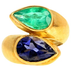 Gemjunky Set of 2.3Ct Iolite & 2Ct Green Emerald Ring & 4.5Cts Emerald Earrings