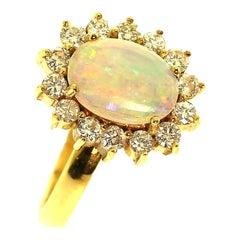 Gemjunky Shimmering Opal and Diamond 18 Karat Yellow Gold Ring