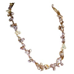 Gemjunky Silvery Freshwater Pearls in Wild Shapes Necklace