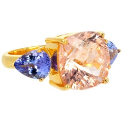 Gemjunky Sophisticated 6.25 Carat Blush Pink Morganite and Blue Tanzanite Ring