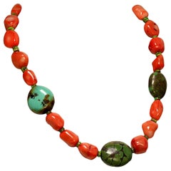 Gemjunky Southwest Style Peach Coral and Hubei Turquoise Necklace