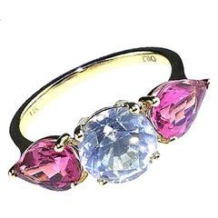 Gemjunky Sparkling White Cambodian Zircon and Pink Tourmaline Ring