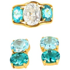 Gemjunky Spectacular Gold Zircon & Tourmaline Ring and Apatite & Topaz Earrings