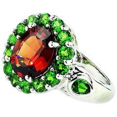 Spessartite Garnet with Chrome Diopside Sterling Ring