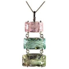 Gemjunky Statement  3 Stone Multi Color Beryl Horizontal Bars Sterling Pendant