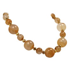 Gemjunky Statement Brilliant Gold Quartz Necklace