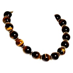 Gemjunky Statement Necklace of Magnificent Glowing Tiger's Eye