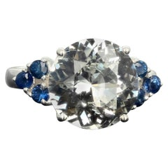 Gemjunky Stunning 6.52 Carat Natural Fiery White Zircon and Blue Sapphires Ring