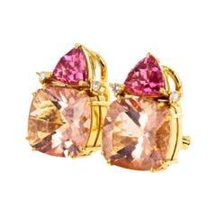 Gemjunky Stunning & Elegant Morganite, Tourmaline, Diamond 18k Gold Earrings