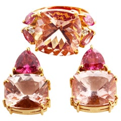 Gemjunky Stunning Morganite & Rubelite Tourmaline 18Kt Gold Ring & Stud Earrings