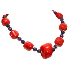 Stunning Southwest Style Necklace of Coral and Purple Charoite