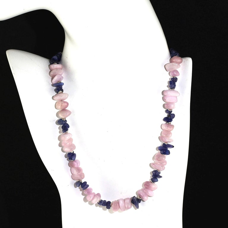Artisan Gemjunky Summertime Unique and Fascinating Kunzite and Tanzanite Necklace For Sale
