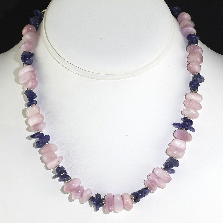 Bead Gemjunky Summertime Unique and Fascinating Kunzite and Tanzanite Necklace For Sale