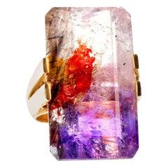 "Gemjunky ""Super Model"" Rare 25.19 Ct. Rutilated Amethyst Gemstone 18Kt Gold Ring"