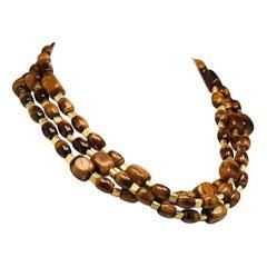 Gemjunky Three-Strand Chatoyant Tiger's Eye Necklace